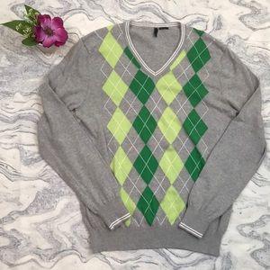 Benetton Green and a Gray Argyle Sweater Medium